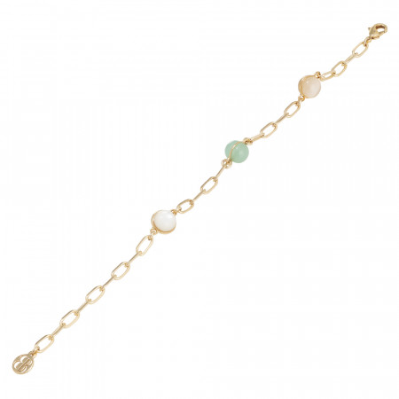 Chain bracelet with late cabochon and opaque and beige mint