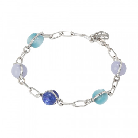 Chain bracelet with cabochon in shades of blue