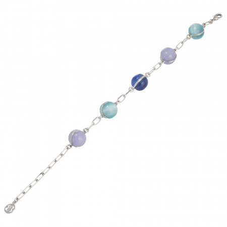 Chain bracelet with large cabochons in shades of blue