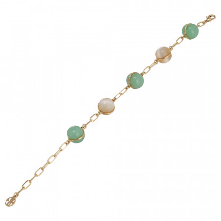 Chain bracelet with large colored cabochons