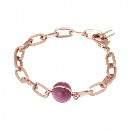 Chain bracelet with large fuchsia cabochon