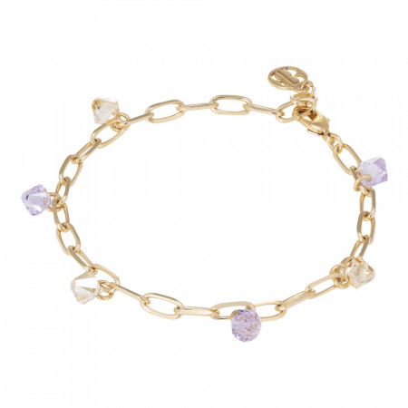 Chain bracelet with Swarovski violet and golden shadow
