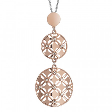 Necklace bicolor with double hanging from the decoration in low relief and Swarovski Crystals