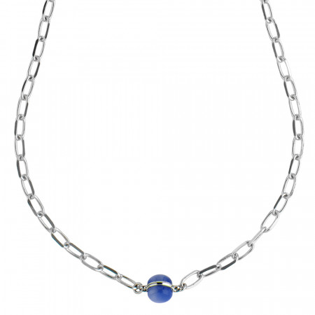 Chain necklace with rutilated blue cabochon