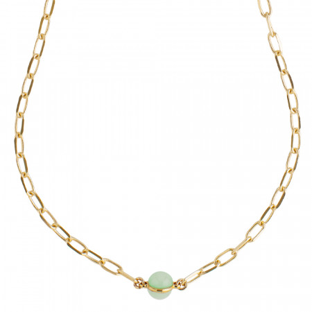 Chain necklace with milk and opaque mint cabochon