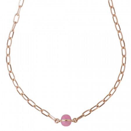 Chain necklace with fuchsia cabochon