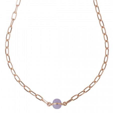 Chain necklace with blue-lilac cabochon