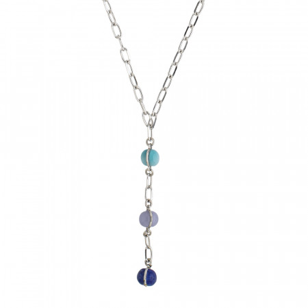 Tie necklace with cabochon in shades of blue