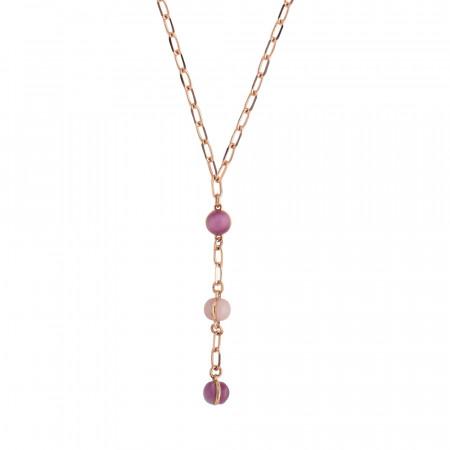 Tie necklace with fuchsia and rose quartz cabochon