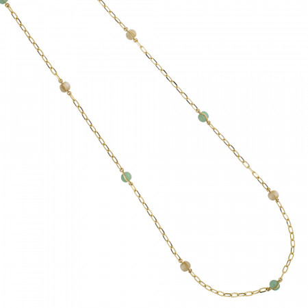 Long necklace with beige and green cabochons
