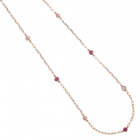 Long necklace with pink and fuchsia quartz cabochons