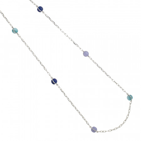 Long necklace with large cabochons in shades of blue