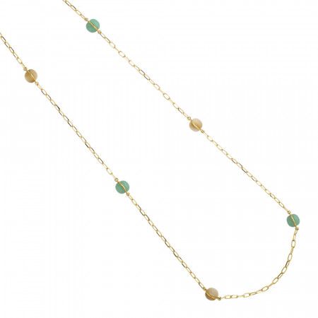 Long necklace with large green and beige cabochons