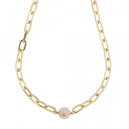 Large link necklace with rose quartz cabochon