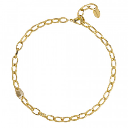 Oval link necklace with golden shadow Swarovski crystal