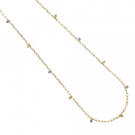 Long chain necklace with Swarovski violet crystals and golden shadow