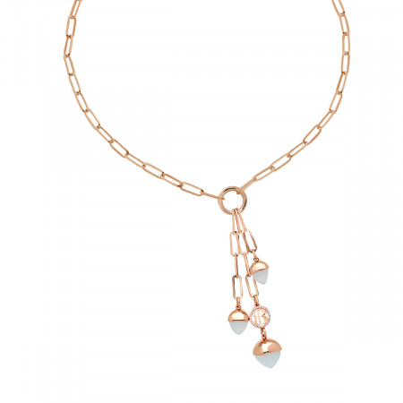 Y necklace with aquamarine pyramidal crystals