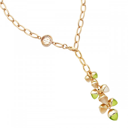 Y necklace with moonstone and olivine crystal pendant
