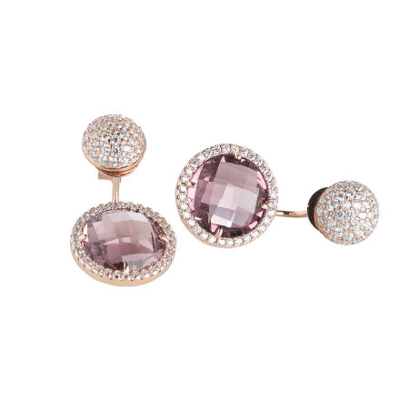 Reversible earrings with zircons and crystals amethyst