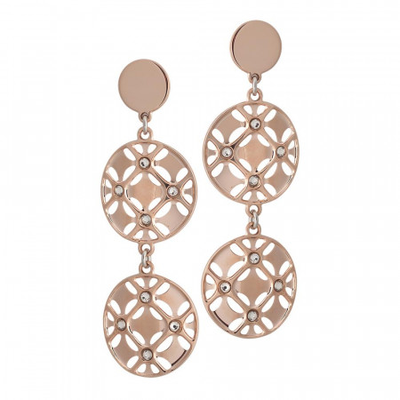 Earrings Gold plated pink with circles pendants and Swarovski