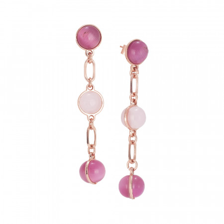 Earrings with cabochons with pink shades