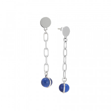 Chain earrings with rutilated blue cabochon
