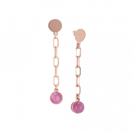 Chain earrings with fuchsia cabochon