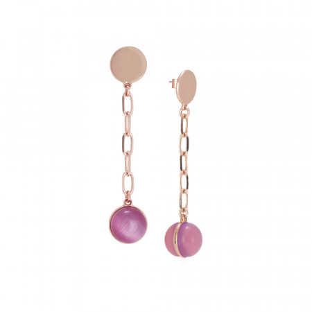 Chain earrings with large fuchsia cabochon