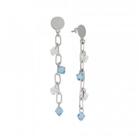 Drop earrings with Swarovski aquamarine and crystal