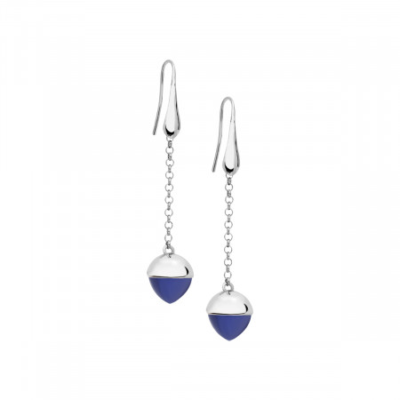 Hook earrings with tanzanite-colored crystal