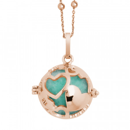Rosé necklace with a heart and wadding treasure chest