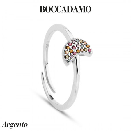 Ring with crescent of multicolor zircons