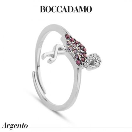 Ring with cubic zirconia flamingo