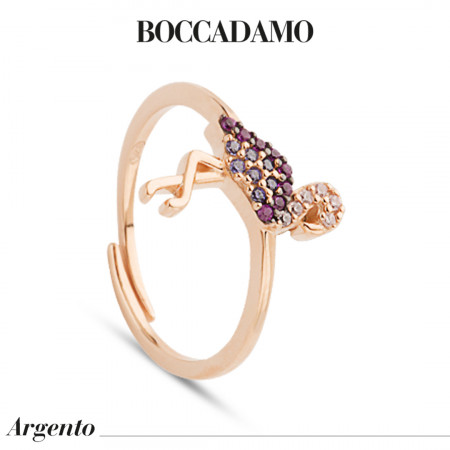 Rose gold plated ring with cubic zirconia flamingo