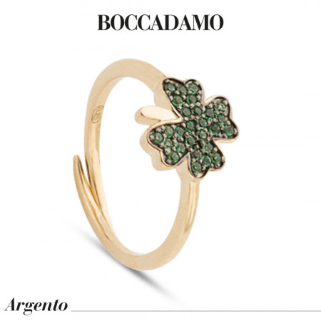 Yellow gold plated ring with cubic zirconia clover