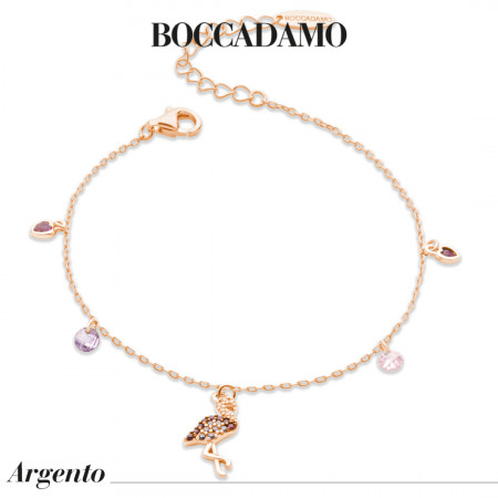 Rose gold plated bracelet with cubic zirconia flamingo