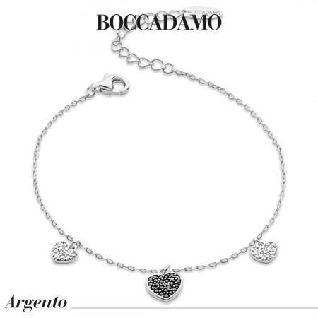 Bracelet with black zircon hearts