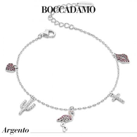 Bracelet with pink and white zircon pendants