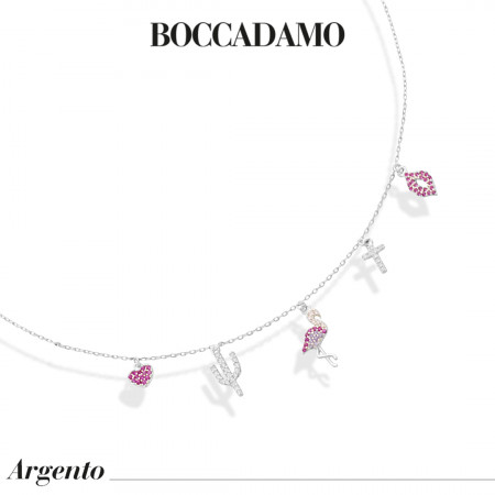 Necklace with fancy pendants in white and fuchsia cubic zirconia