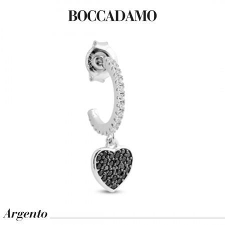 Crescent earring with black zircon heart