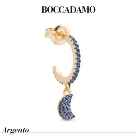 Half moon earring with pendant of blue zircons