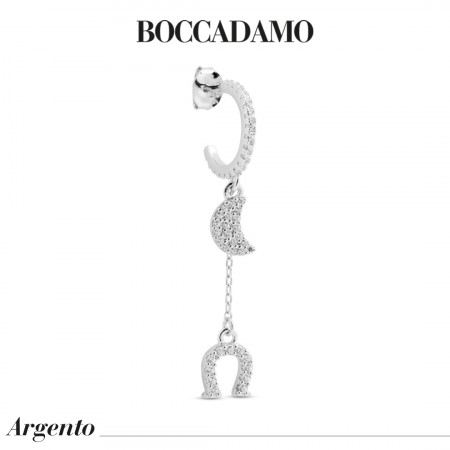 Earring with crescent and cubic zirconia horseshoe