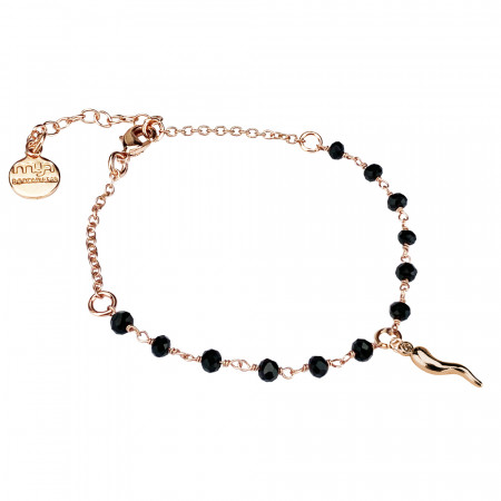 Rosé bracelet with black crystals and lucky charm