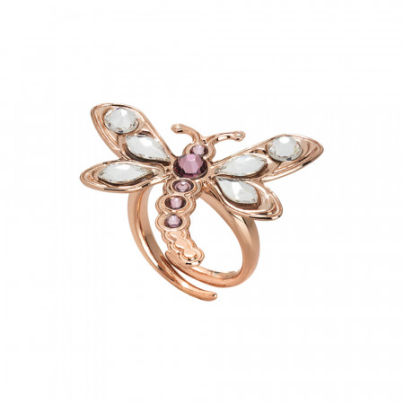 Adjustable ring with dragonfly