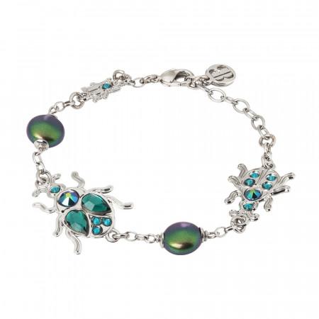 Bracelet with scarab and Swarovski pearls