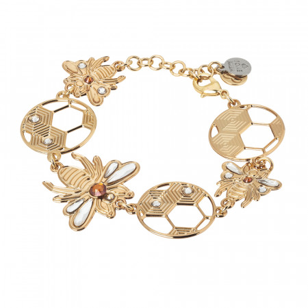 Semi-rigid bracelet with bees and honeycombs