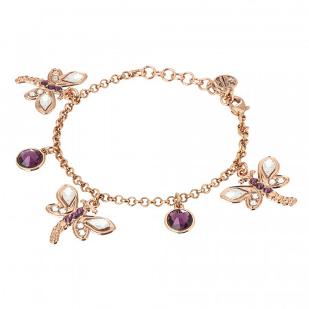 Bracelet with dragonflies and amethyst crystals