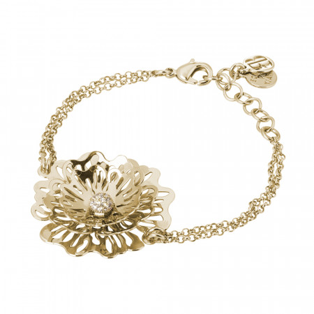 Double thread golden bracelet with wild rose and zircons