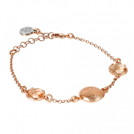Rosé bracelet with peach crystals and scratched element