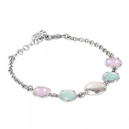 Bracelet with green crystals and rose milk quartz color and scratched element